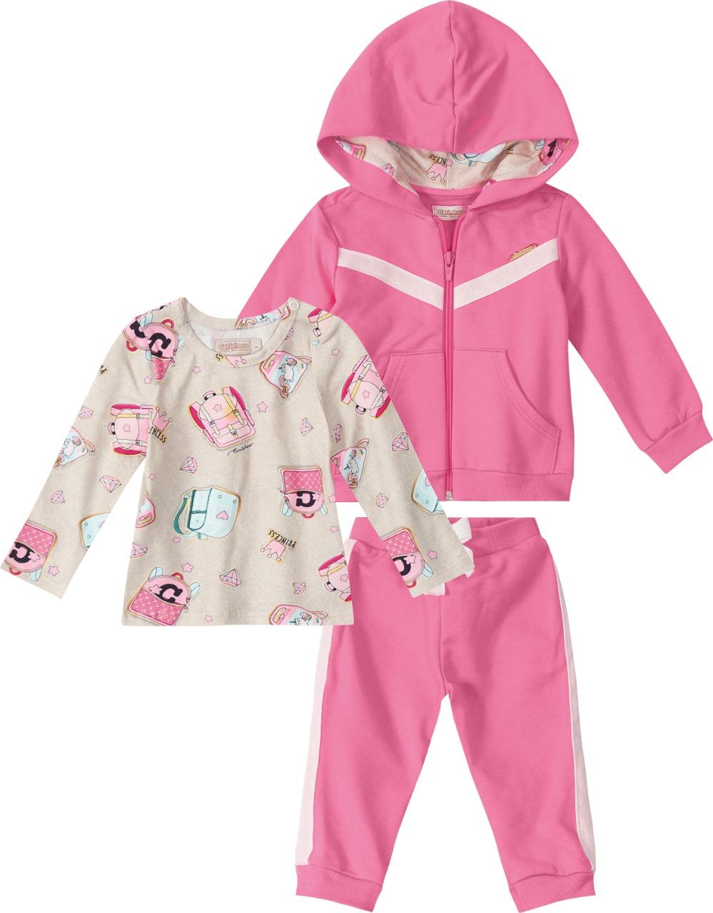 Conjunto Jaqueta, Blusa e Calça em algodão Rosa  Tam 1 a 3 anos