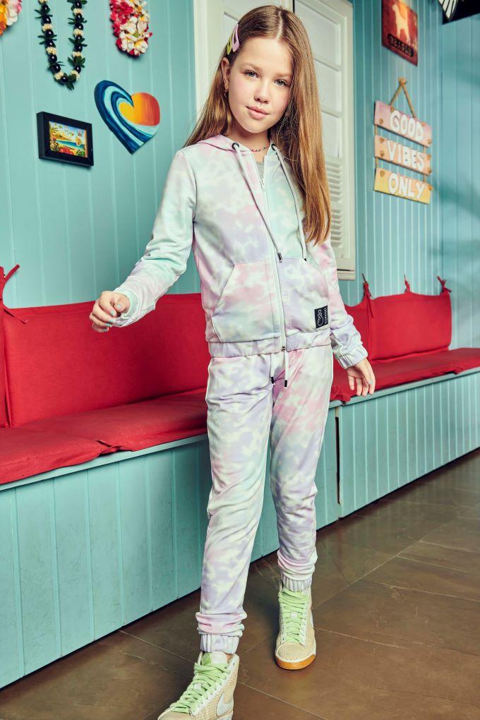 Conjunto Jaqueta e Calça Tie Dye -Tam 12 a 16 anos