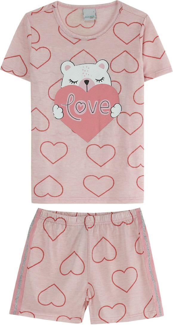 Conjunto pijama blusa manga curta e short em algodão estampado- Tam 2 a 14 anos