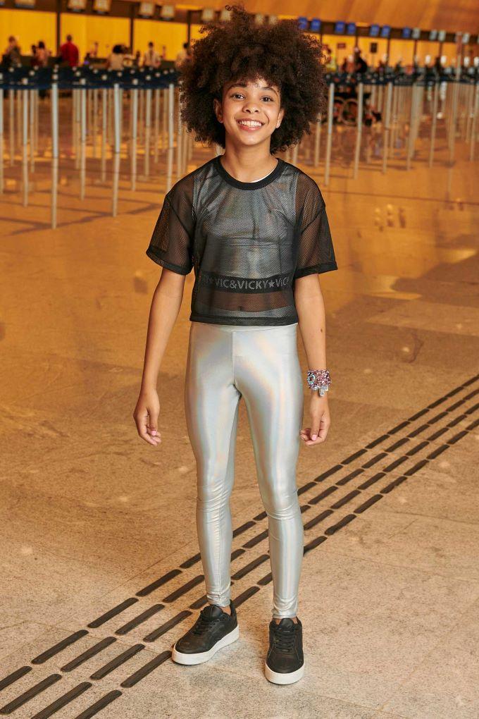 Conjunto teen menina blusa cropped e calça em cirrê  Tam 12 a 18 anos
