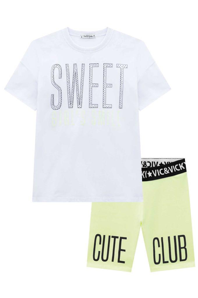 Conjunto teen menina blusa manga curta e bermuda cliclista - Tam 12 a 18 anos