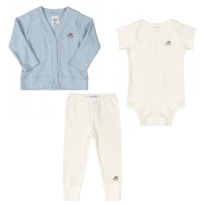 Kit Body, Calça e Casaco em Suedine Off White e Azul claro - Tam M: 6-9M / G: 9-12M