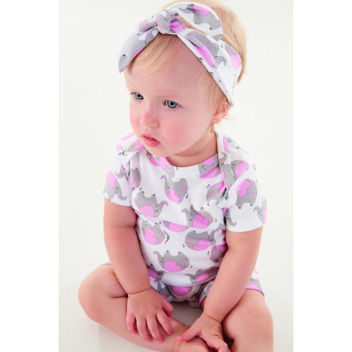 Kit infantil macaquinho manga curta e faixa em suedine estampado TAM: 1 a 3 anos