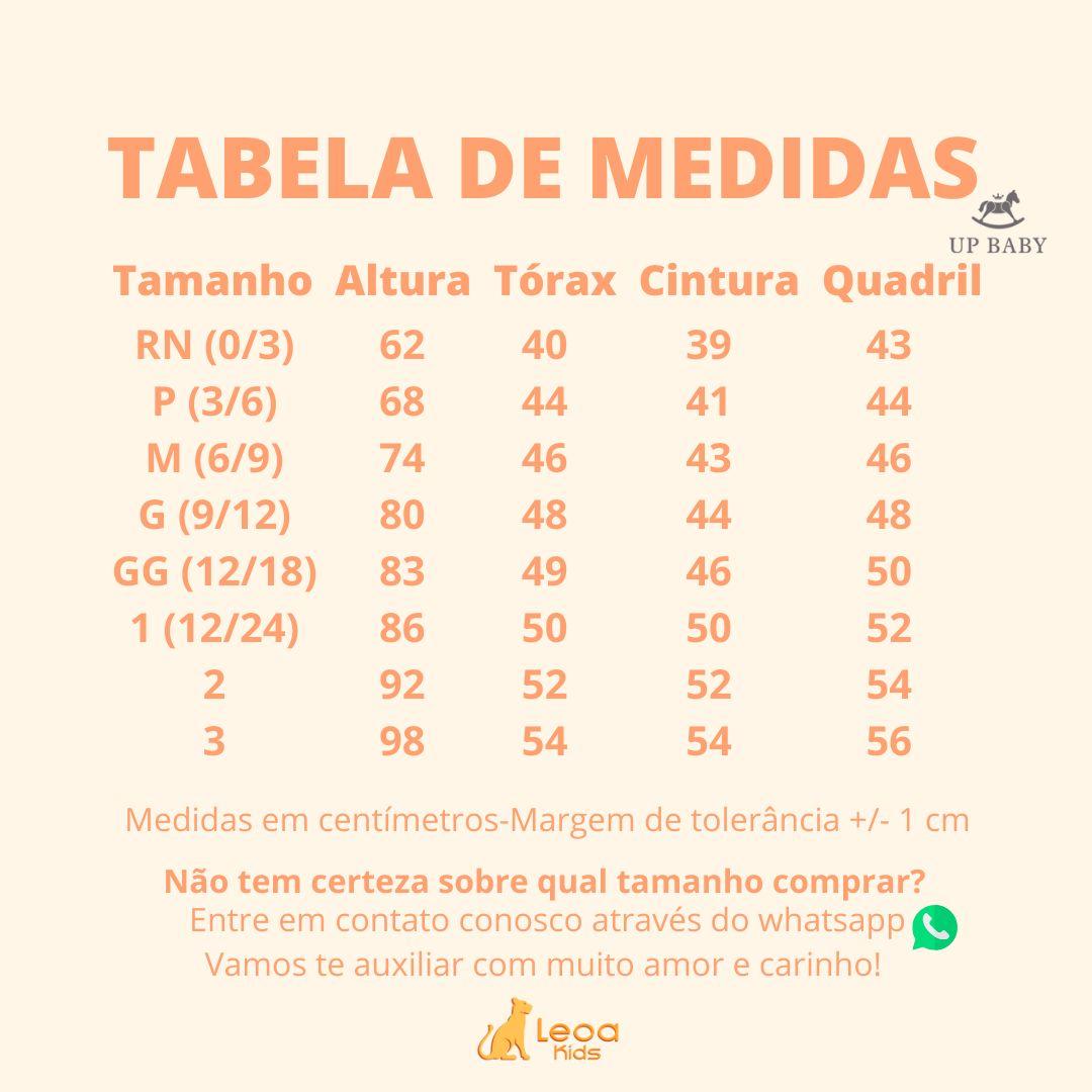Kit Macacão, Babador/Bandana e Body manga longa em ribana estampado - Tam RN: 0-3M / P: 3-6M / M: 6-9M / G: 9-12M / GG: 12-18M