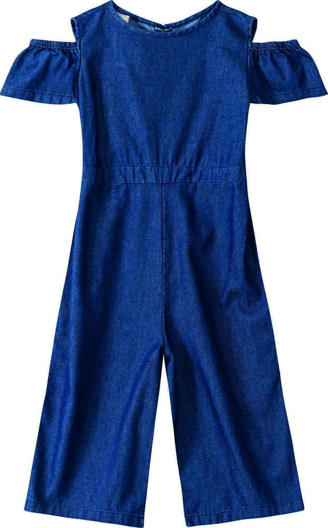 Macacão Pantacourt Jeans leve Azul Marinho - Tam 04 a 08 anos