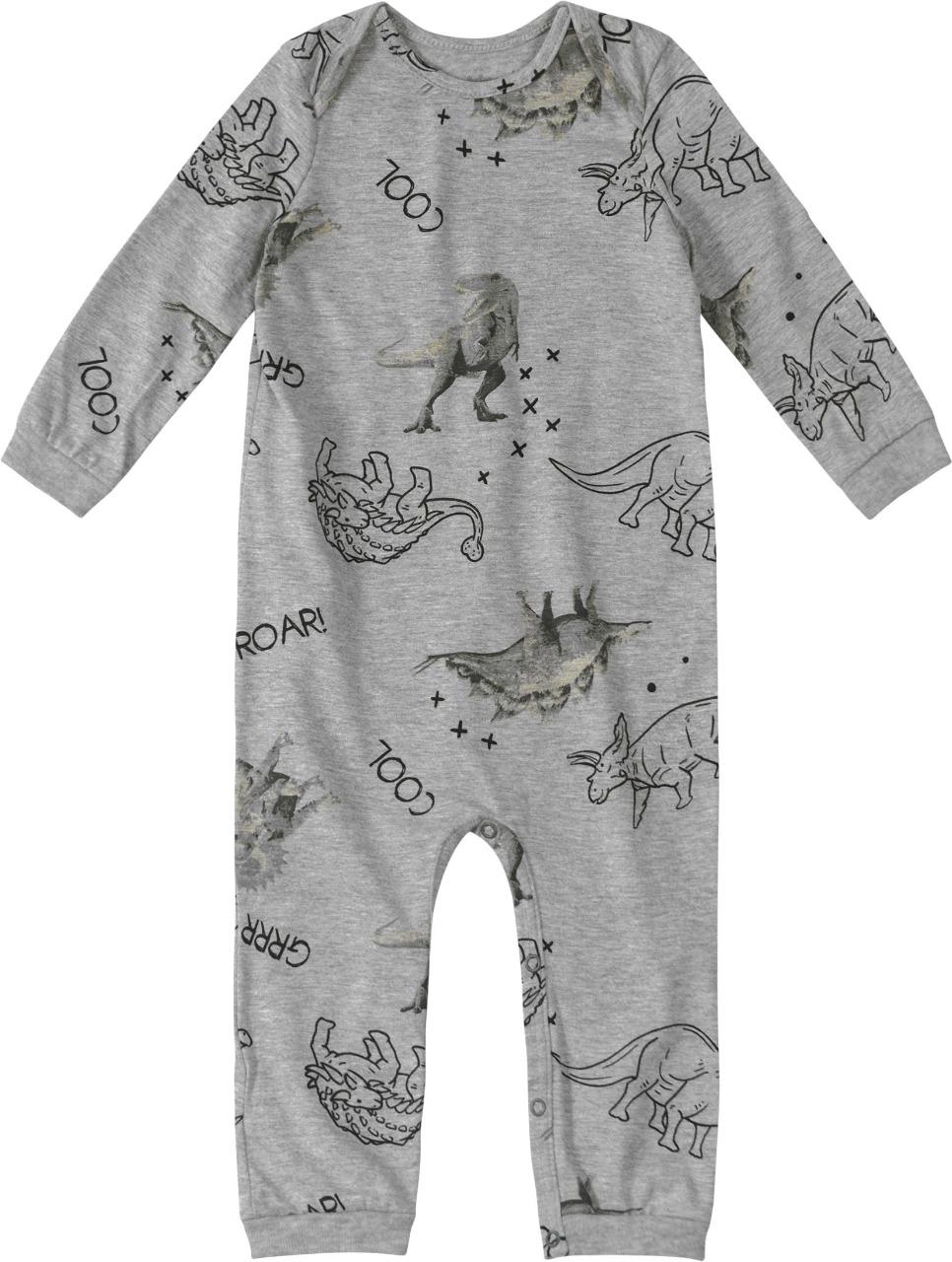 Macacão Pijama manga longa Cinza Estampado - Tam 1 a 3 anos