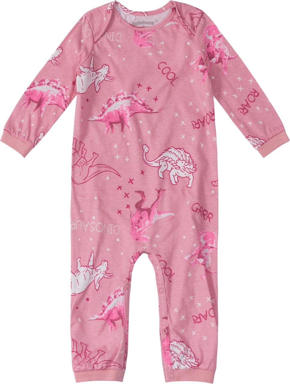 Macacão Pijama manga longa Rosé Estampado - Tam 1 a 3 anos