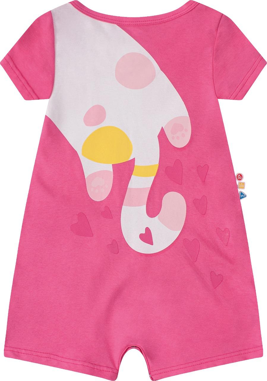 Macaquinho Infantil menina manga curta em algodão - Tam G a 3 anos