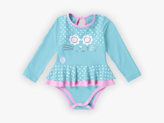 Maiô Infantil menina manga longa com proteção UV- Tam 1 a 3 anos