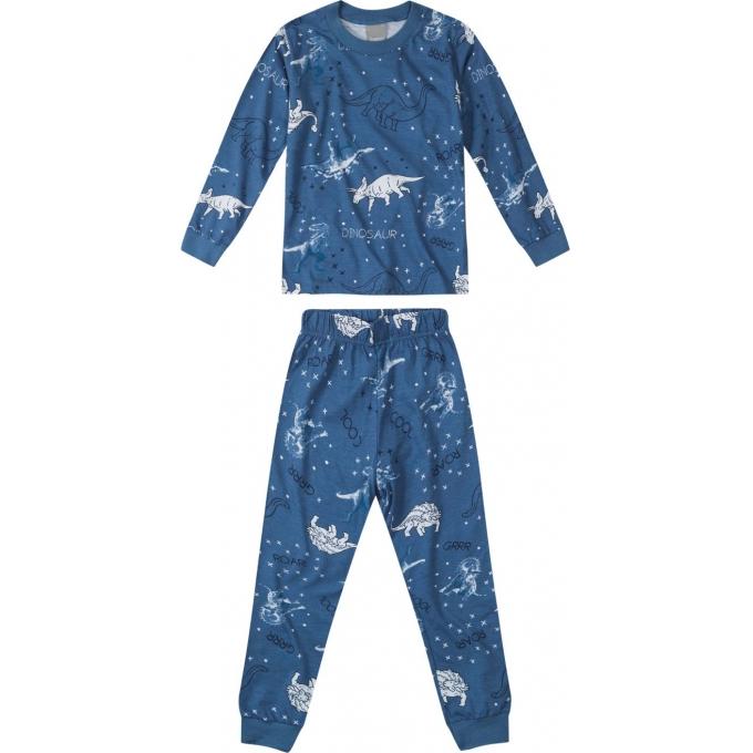 Pijama Blusa manga longa e Calça Azul Estampado- Tam 4 a 14 anos