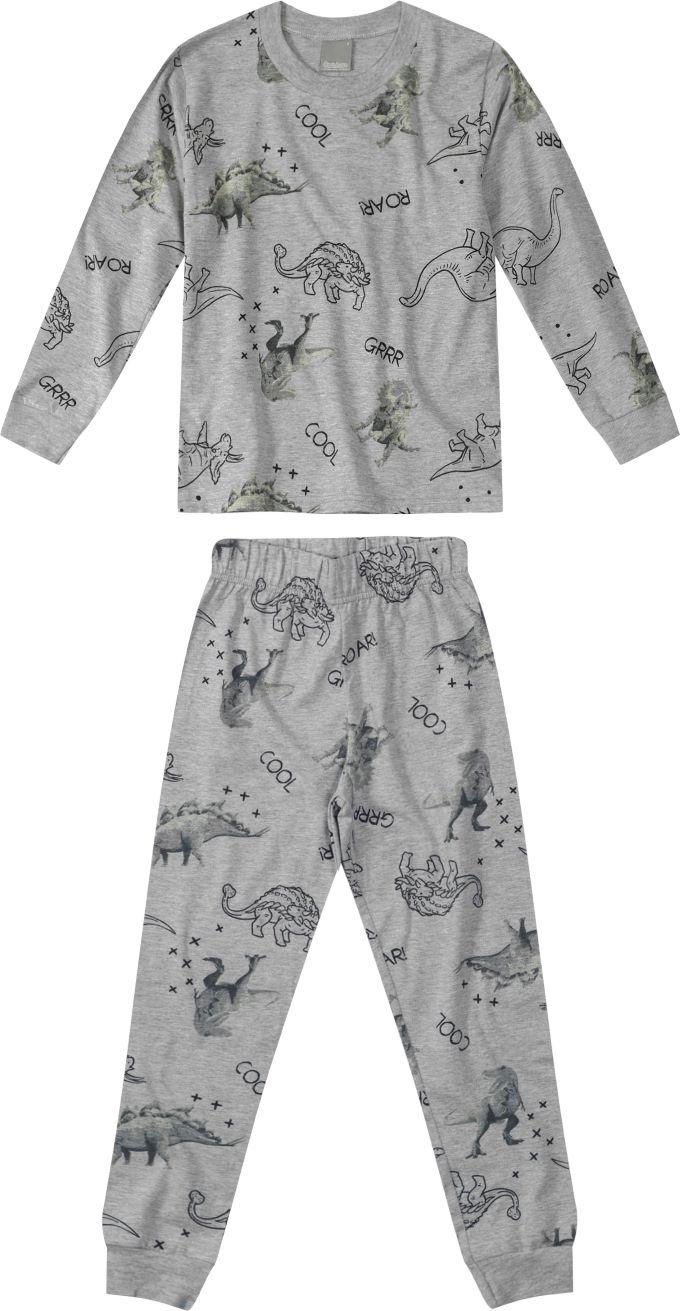 Pijama Blusa manga longa e Calça Cinza Estampado- Tam 8 a 16 anos