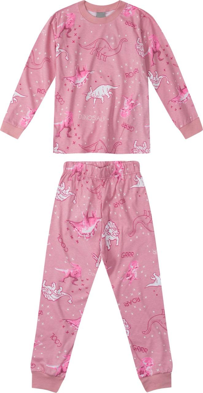 Pijama Blusa manga longa e Calça Rosé Estampado- Tam 4 a 10 anos