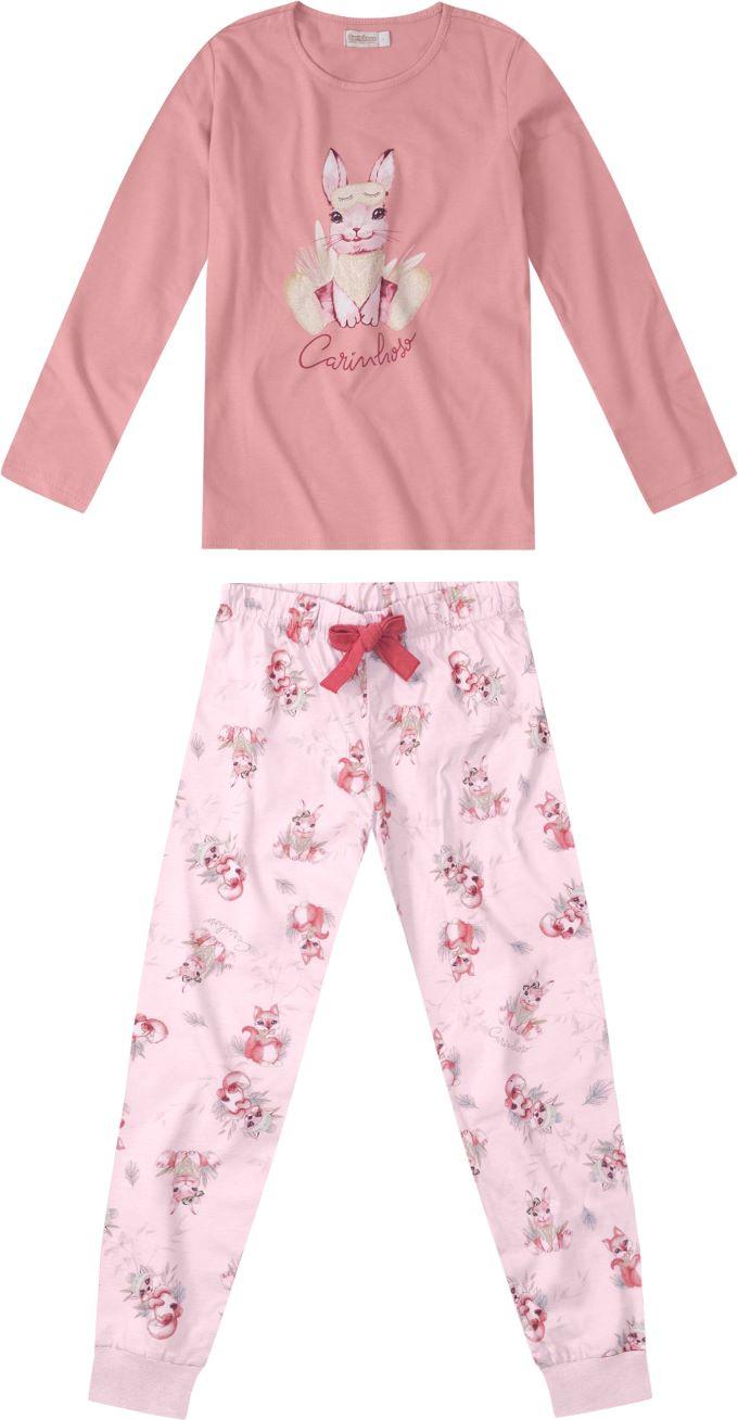 Pijama Blusa manga longa e Calça Rosé - Tam 4 a 14 anos