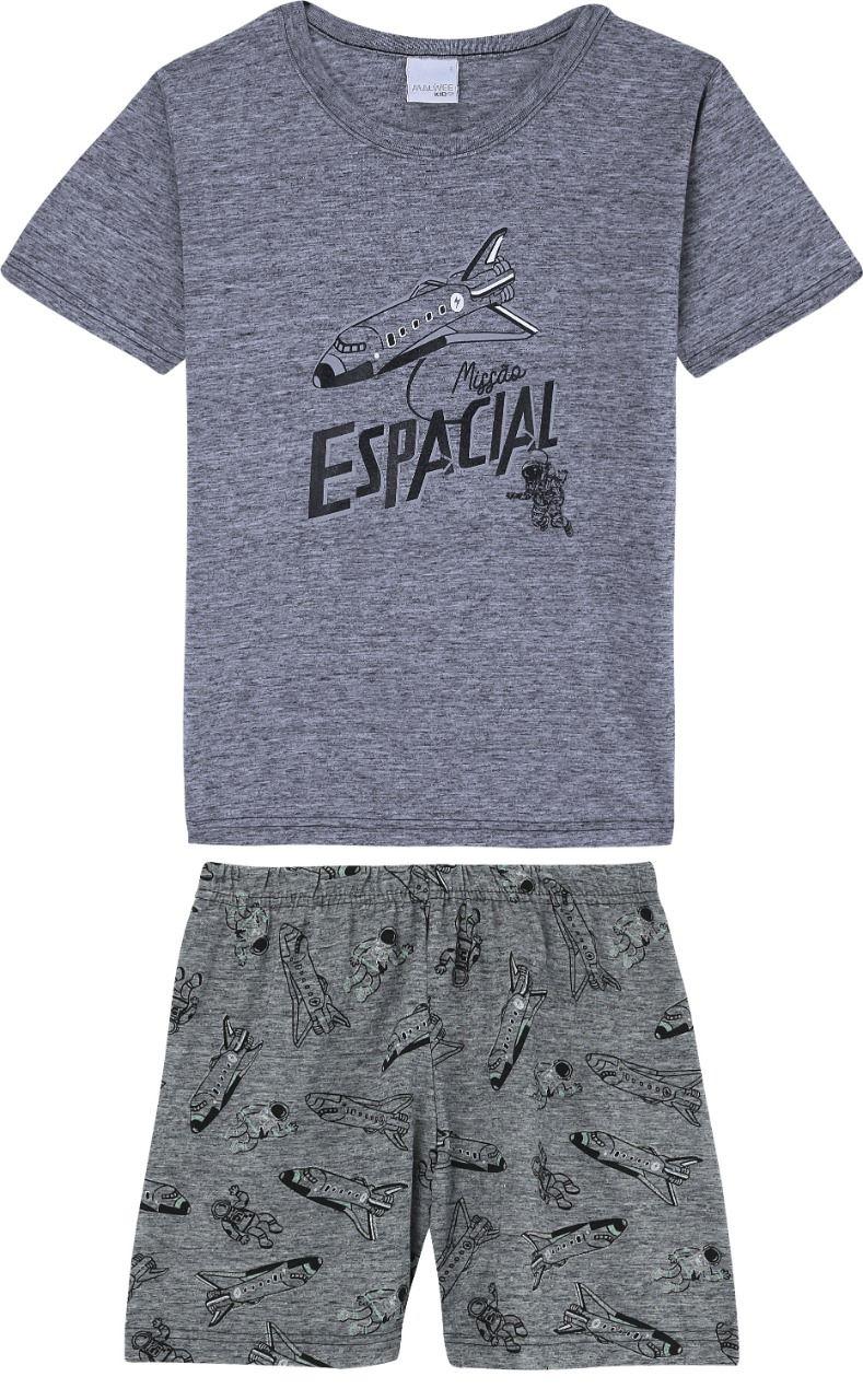 Pijama Infantil masculino espacial em algodão cinza  - Tam 4 a 14 anos