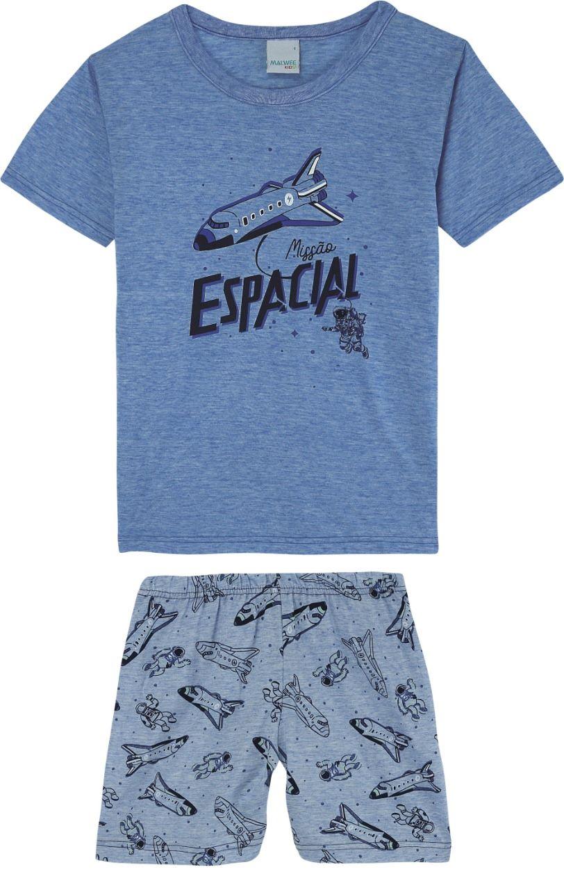Pijama Infantil masculino espacial em algodão  azul - Tam 4 a 14 anos