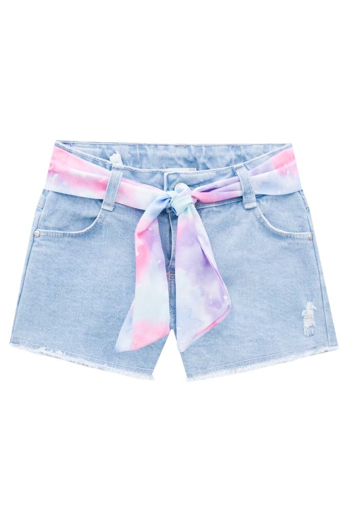 Short infantil menina em jeans com lenço estampado - Tam 6 a 12 anos