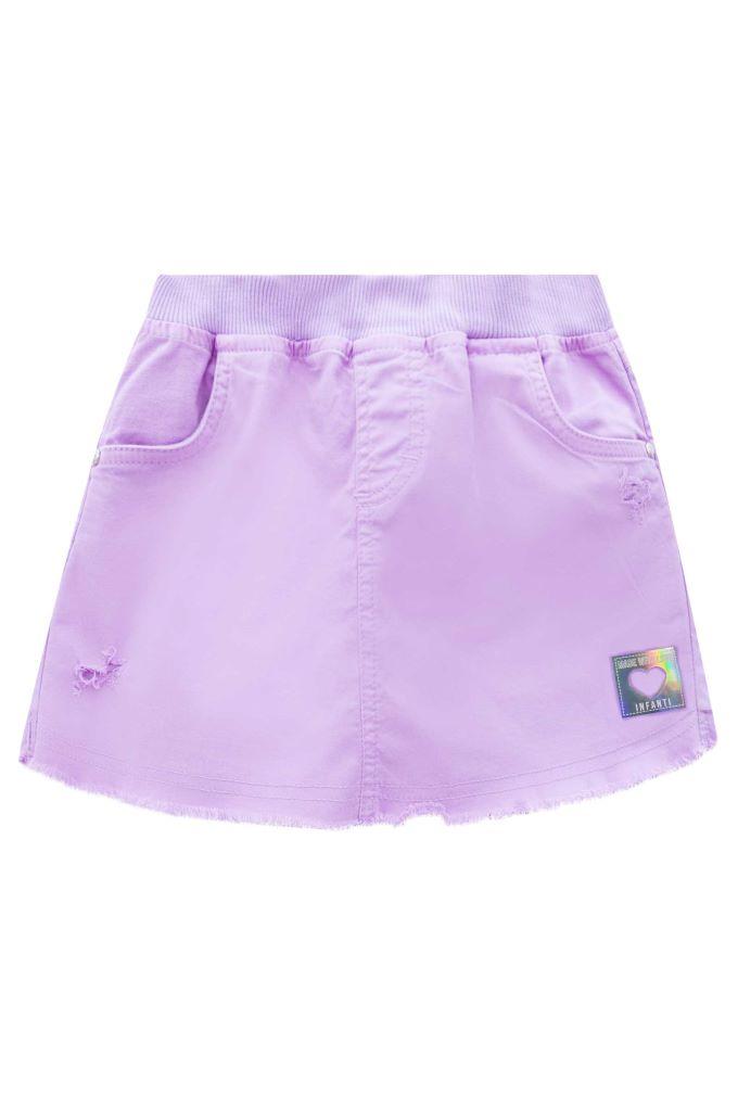 Short Saia infantil em algodão na cor Lilás - Tam 8 a 12 anos