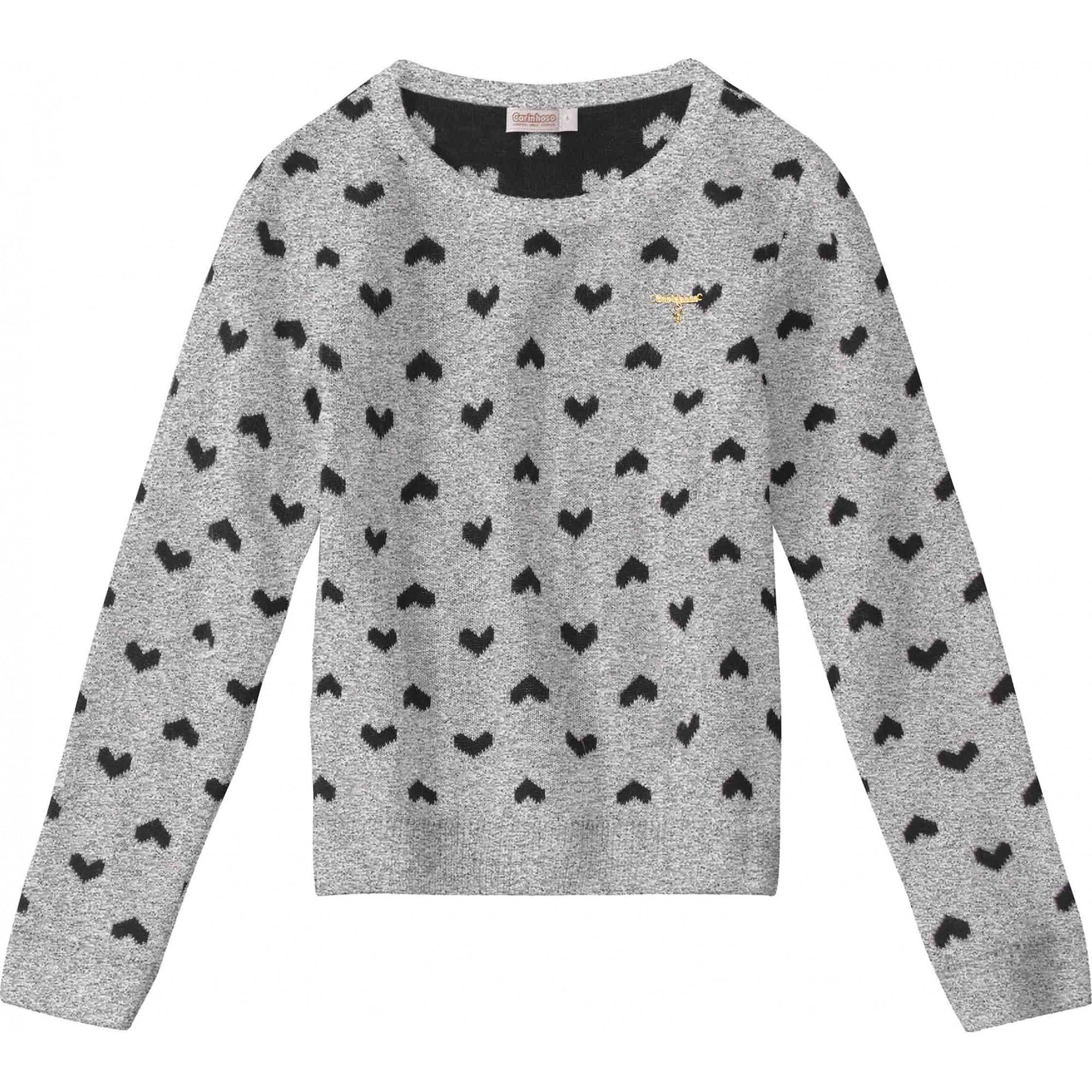 Suéter cinza com estampas de corações preto em tricô - Tam 04 a 10 anos