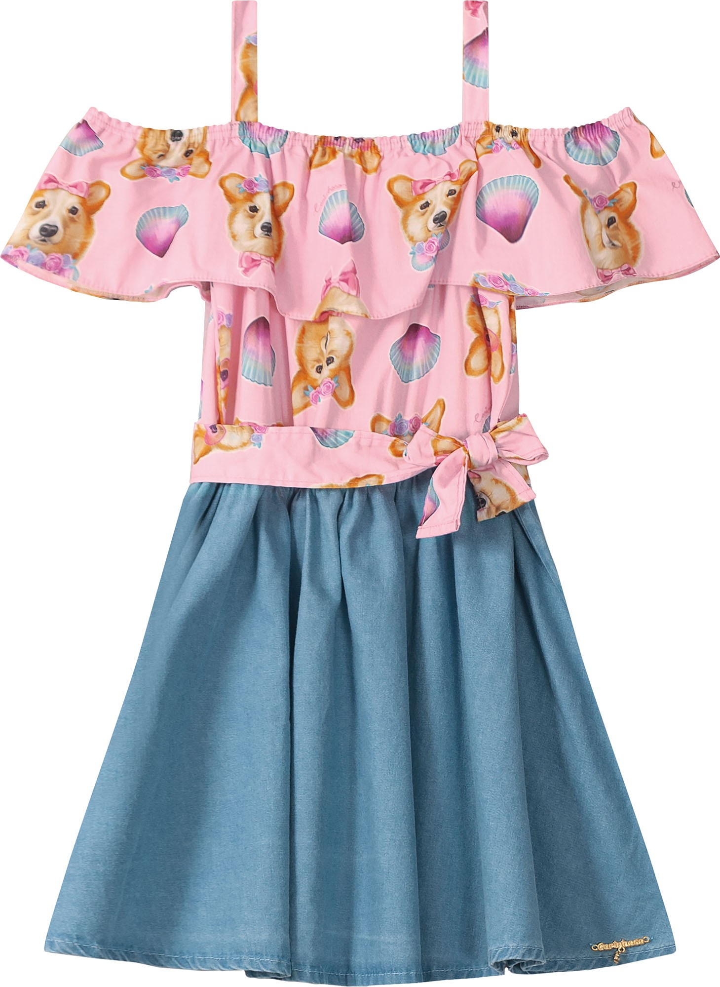Vestido Ciganinha estampa cachorros com fundo rosa e Jeans leve - Tam 08 a 14 anos