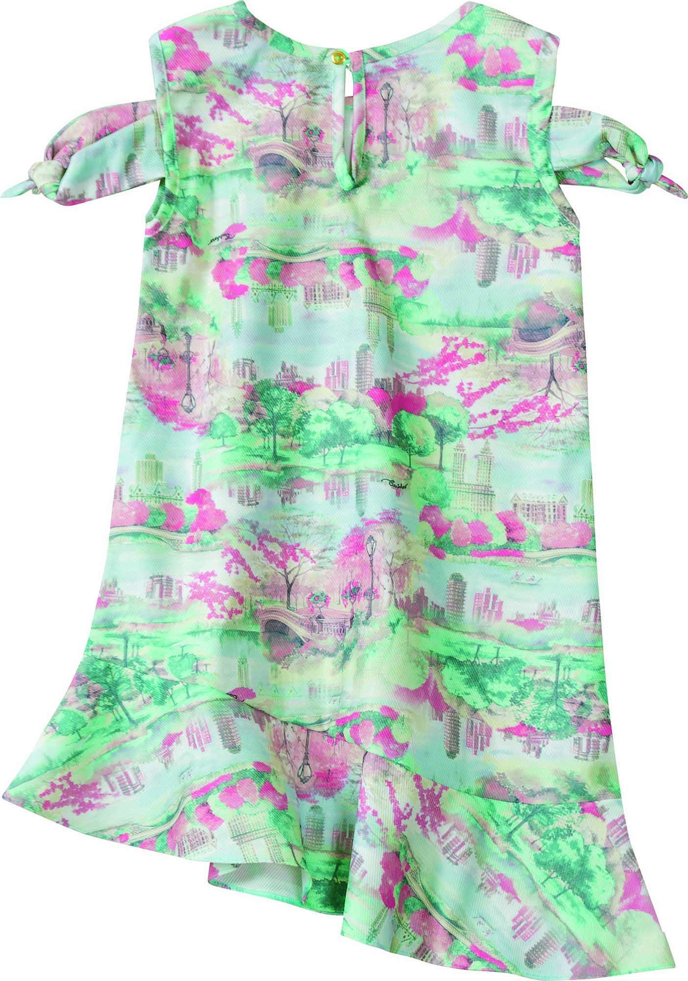 Vestido Curto Colorido em Poliéster - Tam 04 a 12 anos
