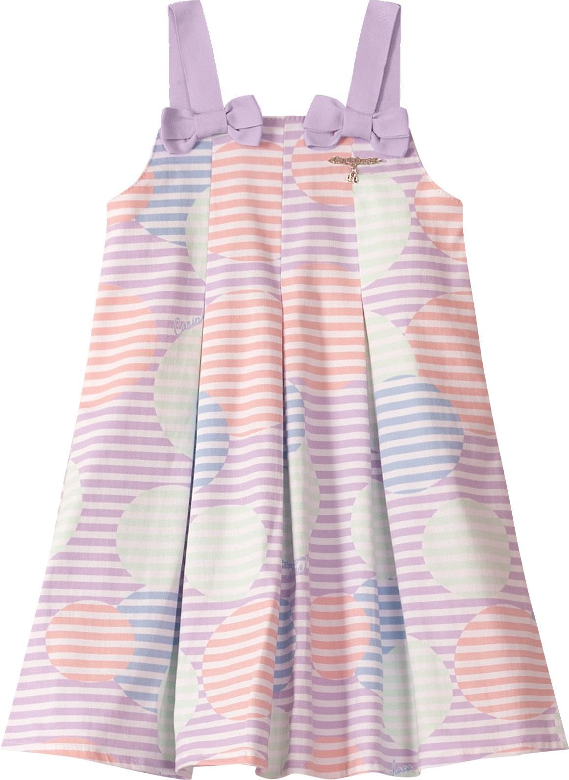 Vestido Curto de Alça com listras Lilás em Algodão com elastano - Tam 01 a 04 anos