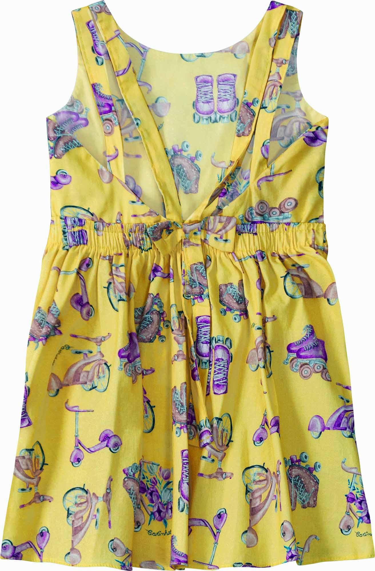 Vestido Curto Regata Amarelo Estampado em Algodão - Tam 01 a 04 anos