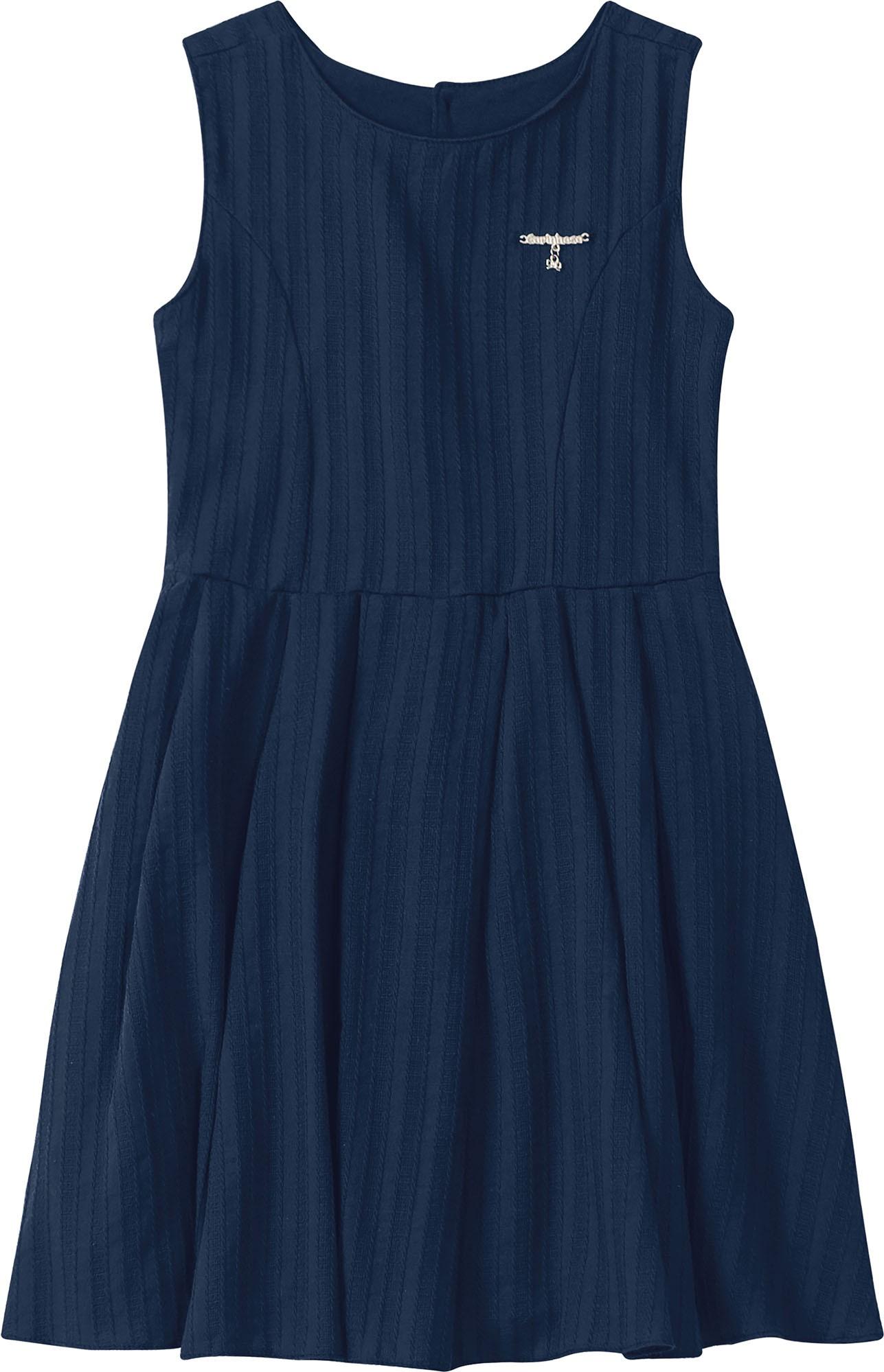 Vestido Curto regata Azul Marinho em Algodão - Tam 01 a 03 anos