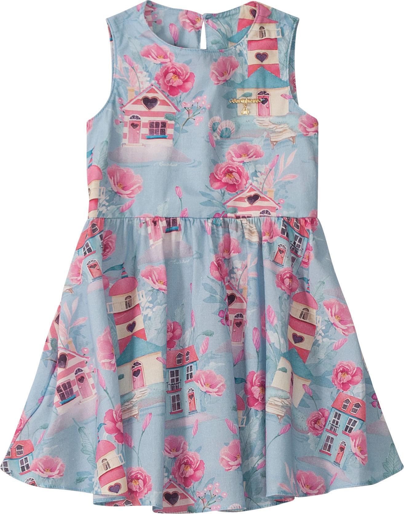 Vestido Curto Regata Floral fundo Azul em algodão - Tam 06 e 08 anos