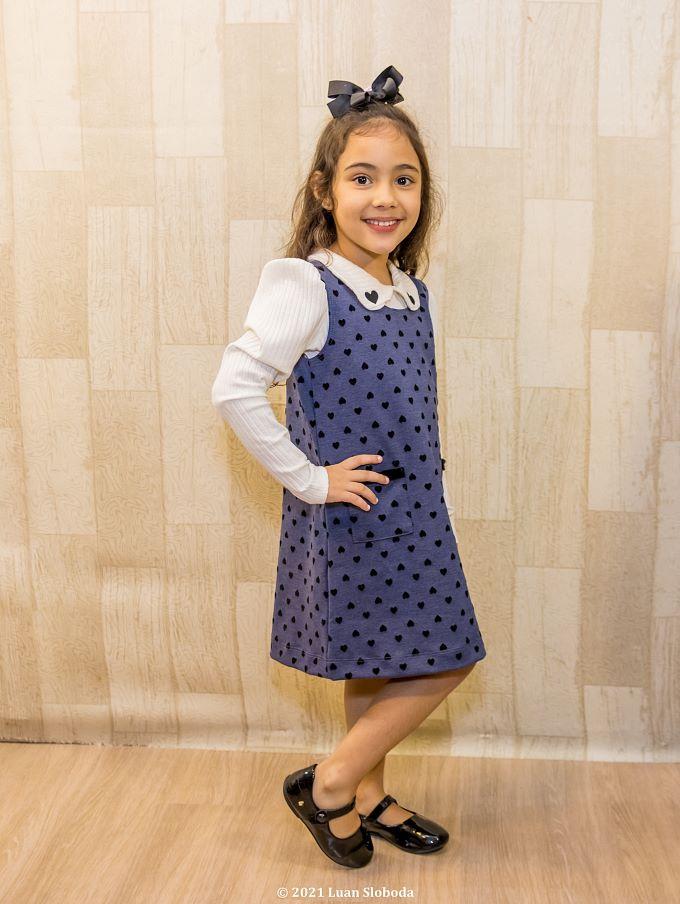 Vestido em jacquard e blusa manga longa- Tam 2 a 6 anos