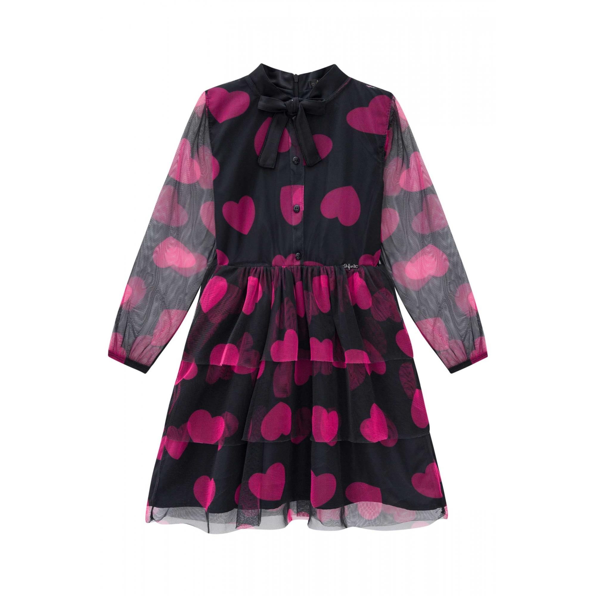 Vestido em tule preto manga longa estampado com corações rosa - Tam 10 a 14 anos