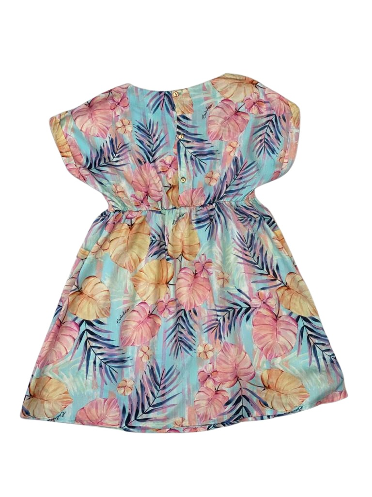 Vestido Estampado com Folhas Coloridas e fundo Azul Claro em Viscose - Tam 04 a 08 Anos