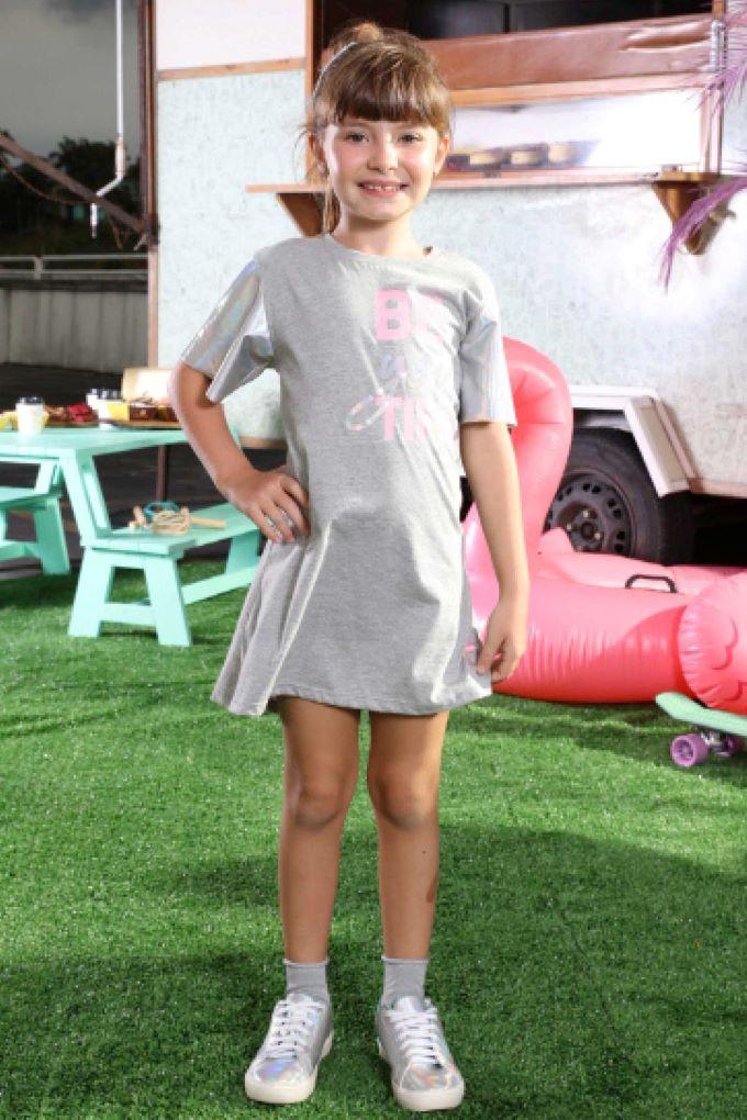 Vestido infantil cinza em algodão e mangas em cirrê -Tam 6 a 14 anos
