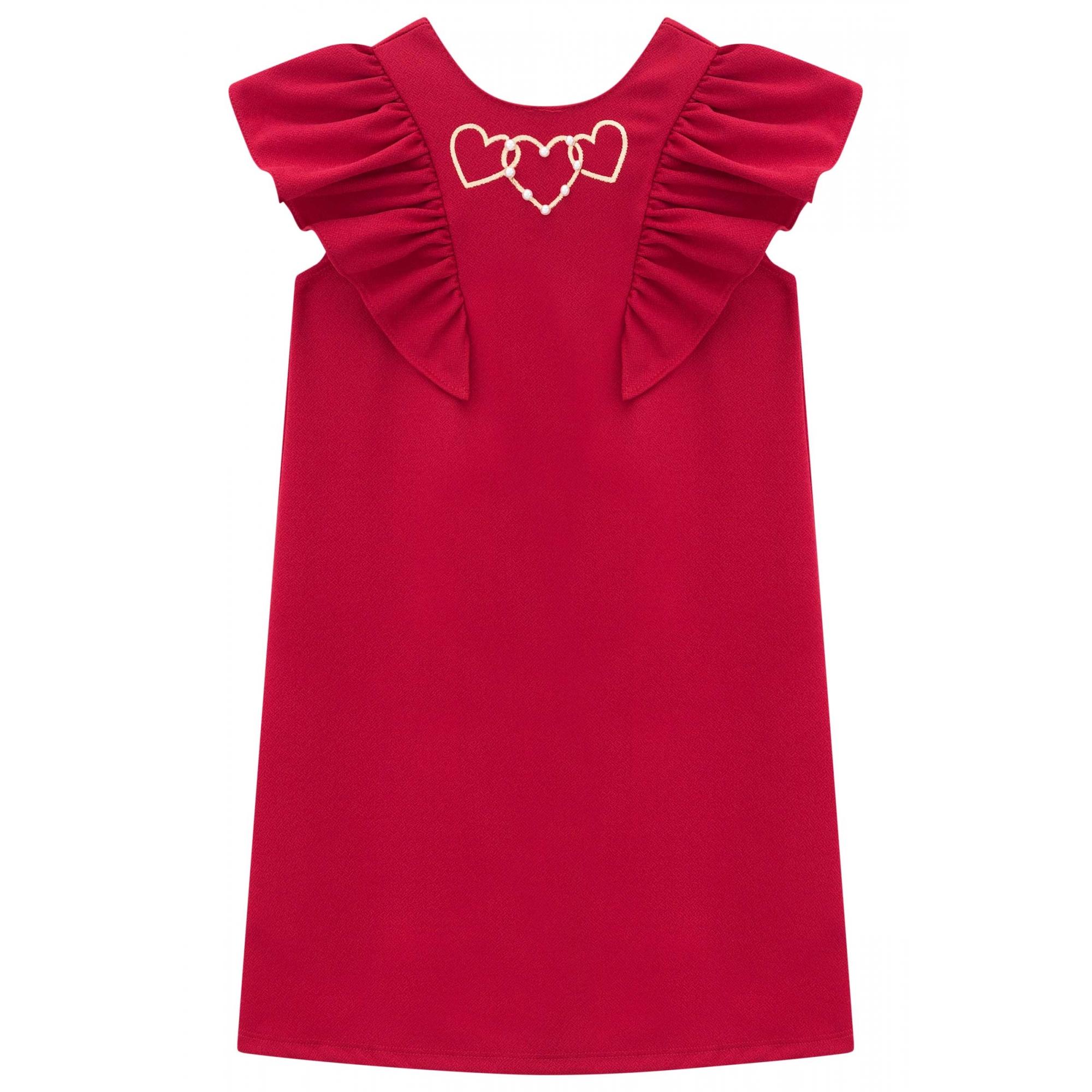 Vestido infantil com babado vermelho - Tam 2 a 10 anos