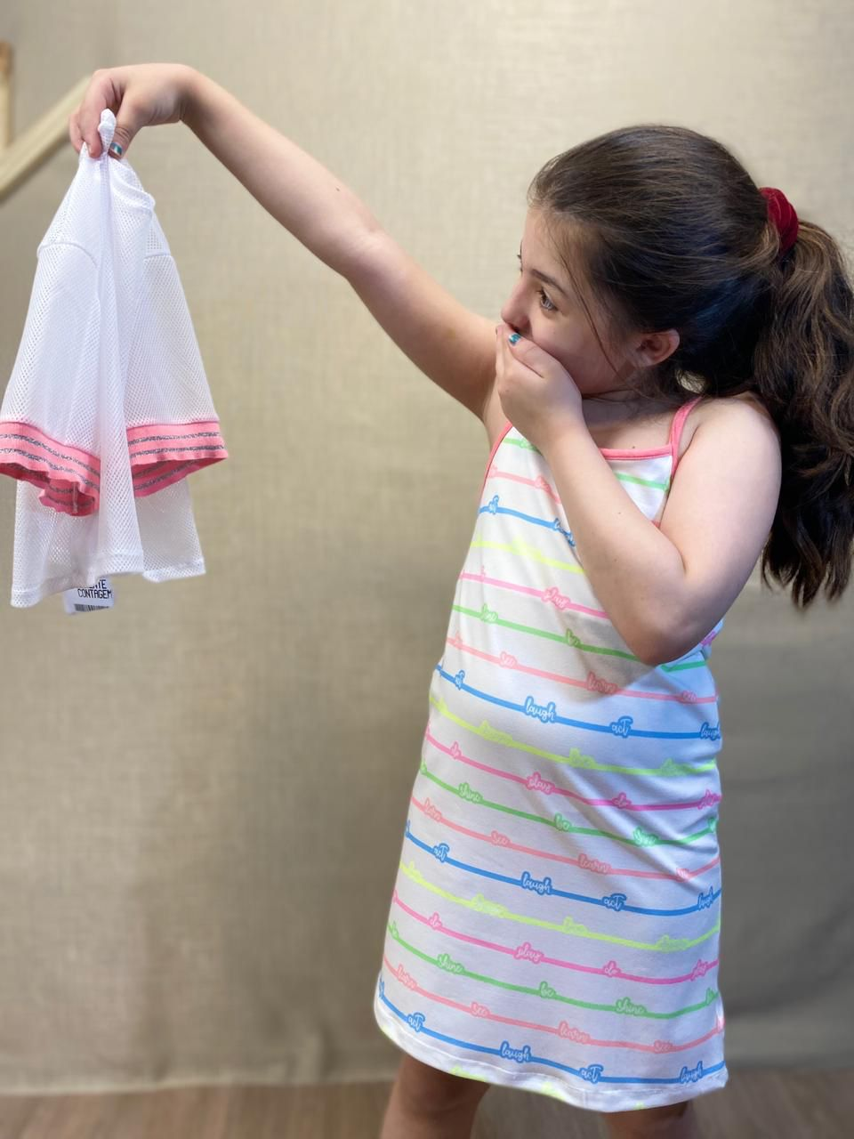 Vestido infantil com sobreposição de blusa em tela - Tam 8 anos