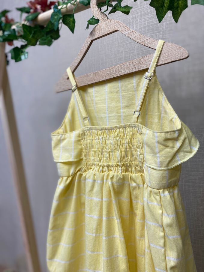 Vestido Infantil de alça em algodão com listas - Tam 8 a 14 anos