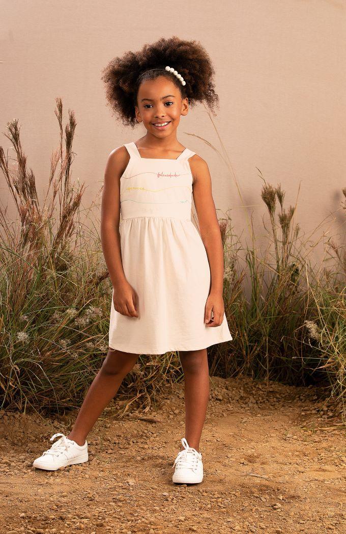 Vestido Infantil de alça em malha natural eco - Tam 4 a 14 anos