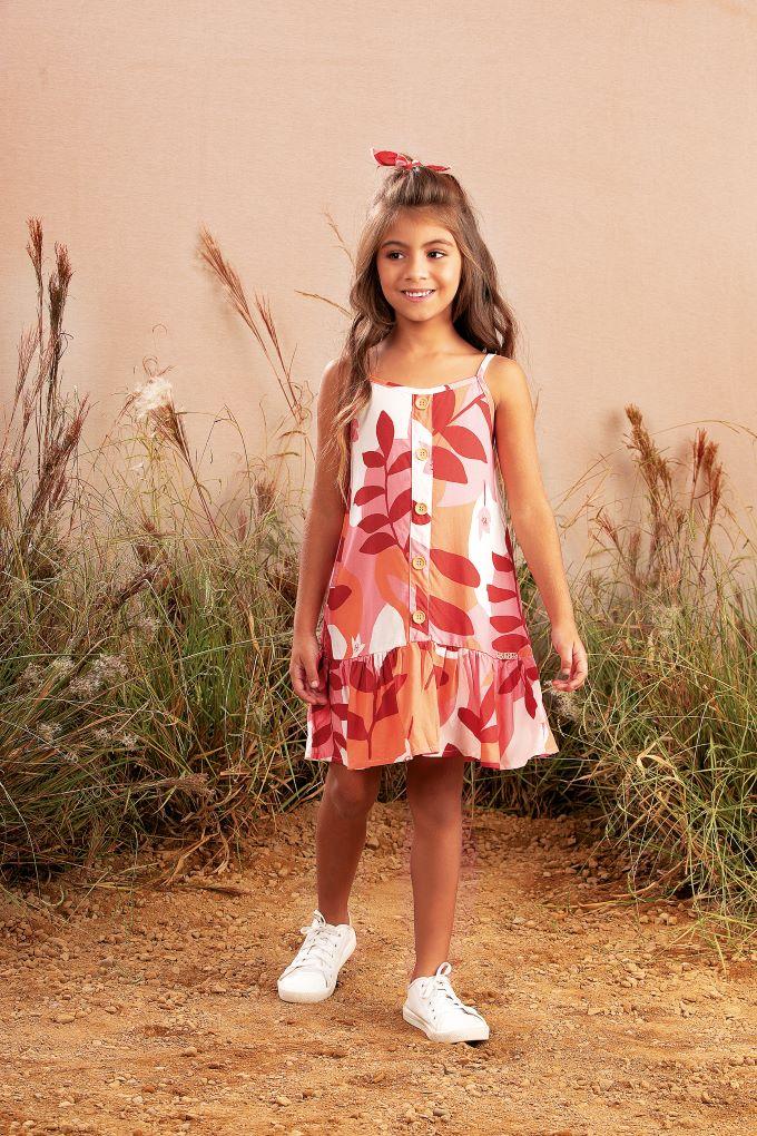 Vestido Infantil de alça em viscose estampado - Tam 8 a 14 anos