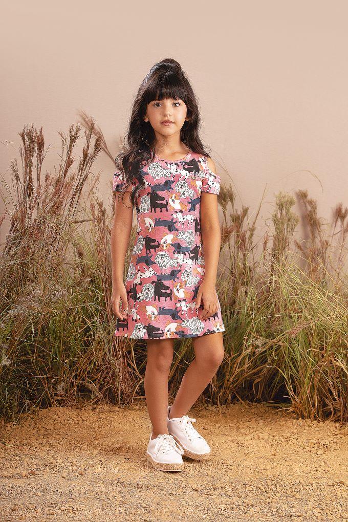 Vestido Infantil em cotton com estampa - 6 a 14 anos