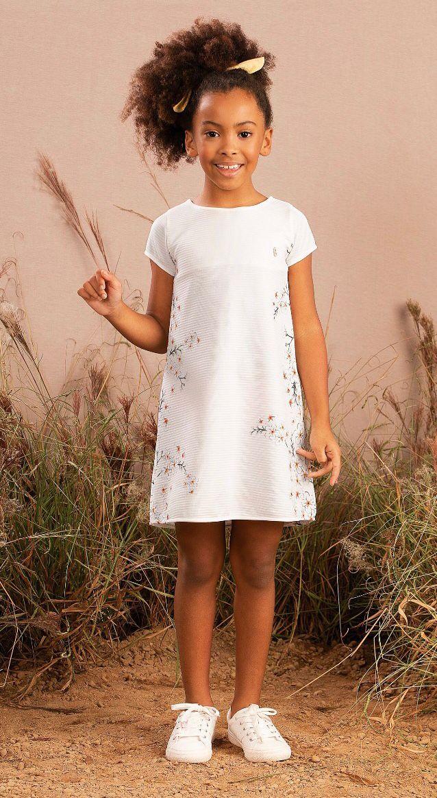 Vestido Infantil em malha texturizada - Tam 2 a 10 anos
