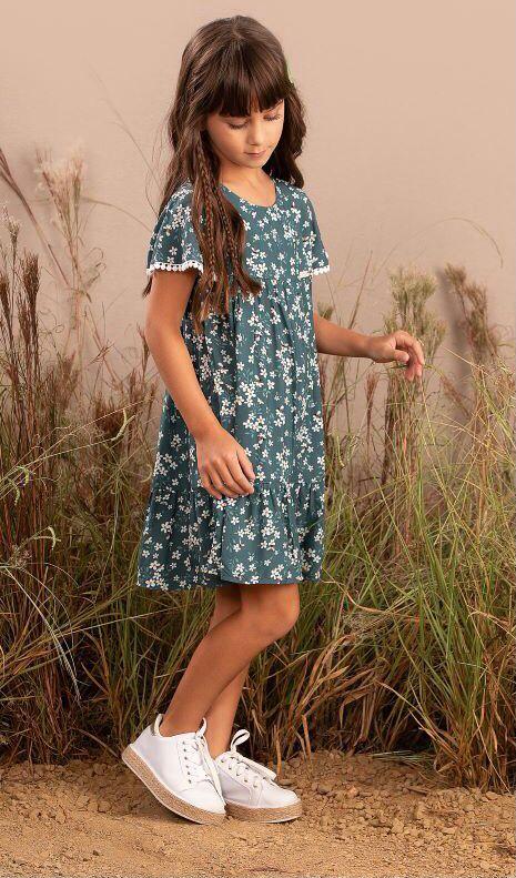 Vestido Infantil em viscose com estampa de margaridas - Tam 2 a 14 anos