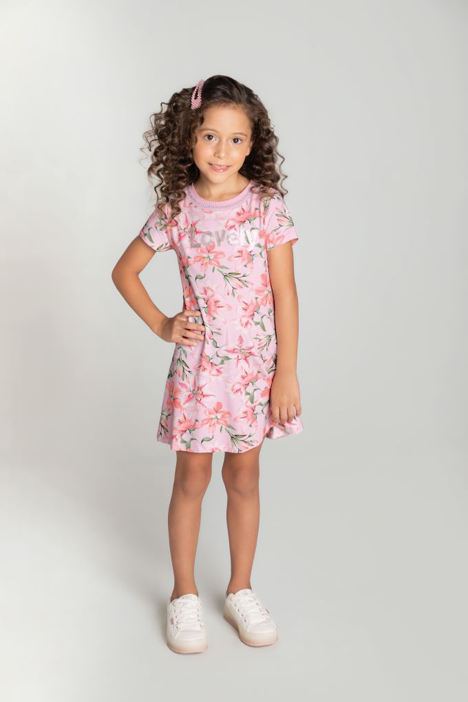 Vestido infantil floral em viscose  Tam 8 a 12 anos