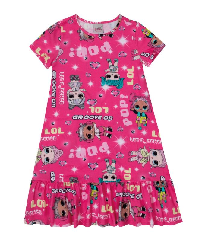 Vestido Infantil LOL em algodão - Tam 4 e 6 anos