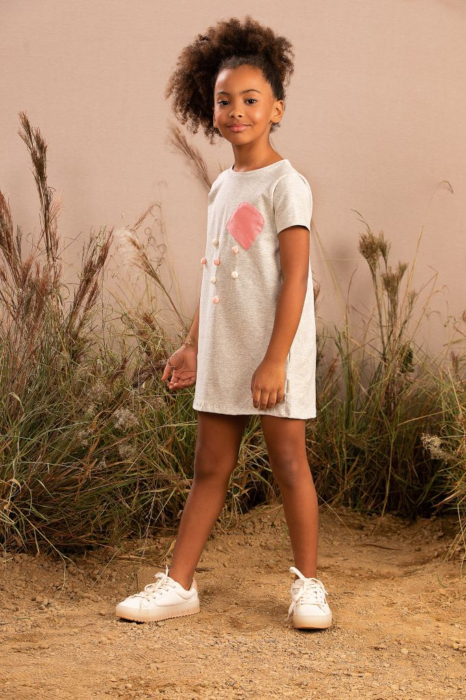 Vestido Infantil manga curta com pompom em cotton  - 4 a 10 anos