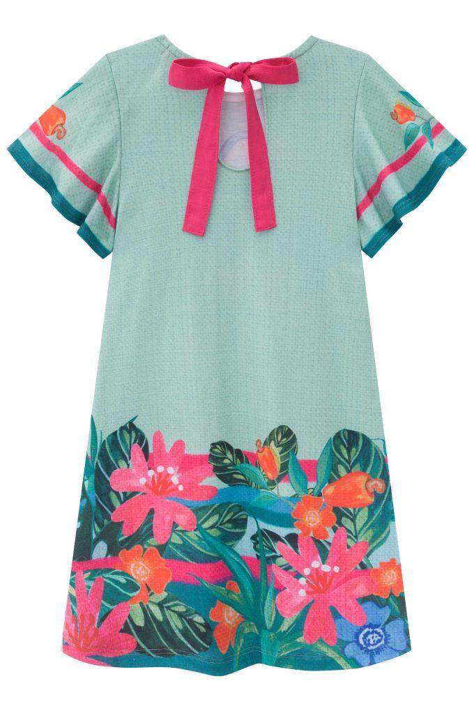 Vestido infantil manga curta estampado flora -Tam 4 a 14 anos