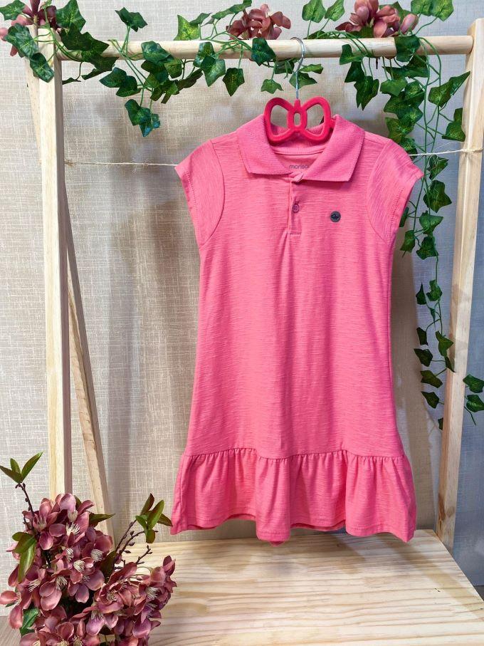 Vestido infantil menina básico rosa gola polo em algodão  Tam 6 a 10 anos