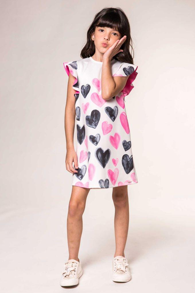 Vestido Infantil menina de corações - Tam 2 a 8 anos