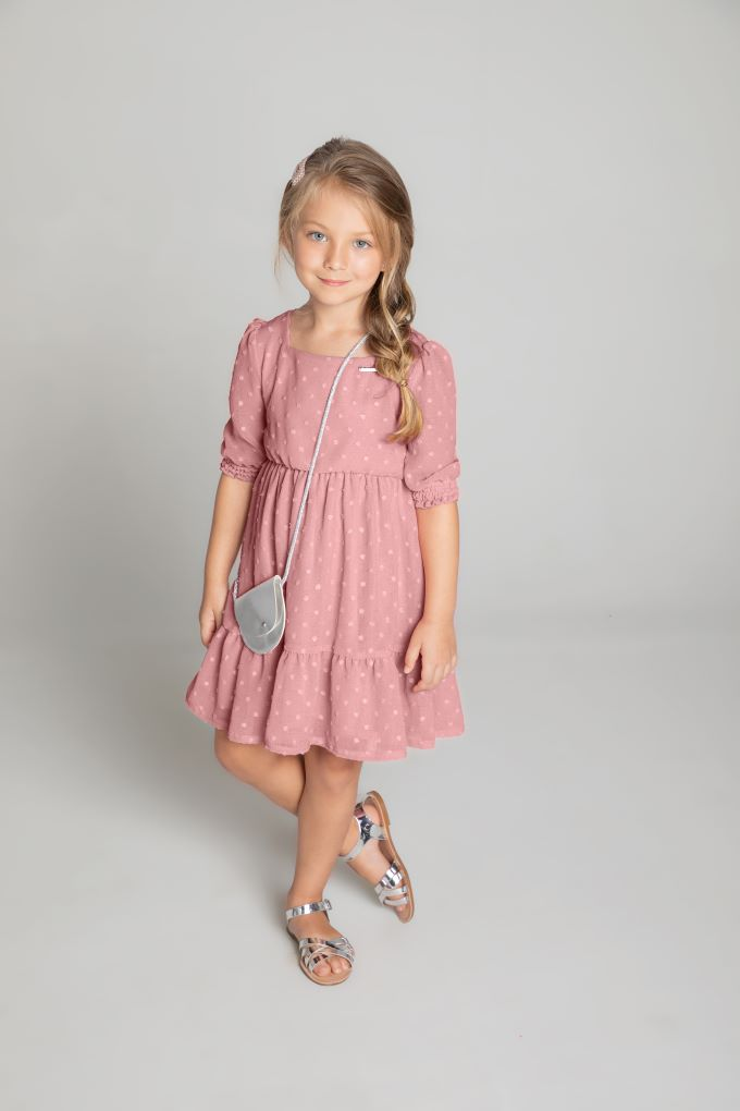 Vestido infantil menina rosa com bolsinha Tam 8  a 12 anos