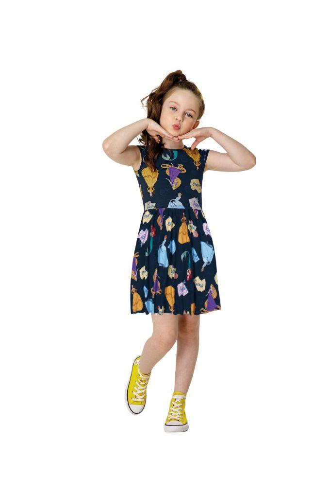 Vestido Infantil princesas em algodão - Tam 4 a 8 anos