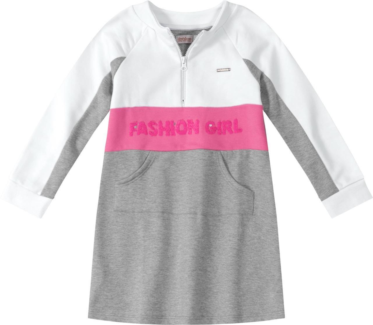 Vestido manga longa em Moletom cinza e rosa - Tam 06 a 10 anos