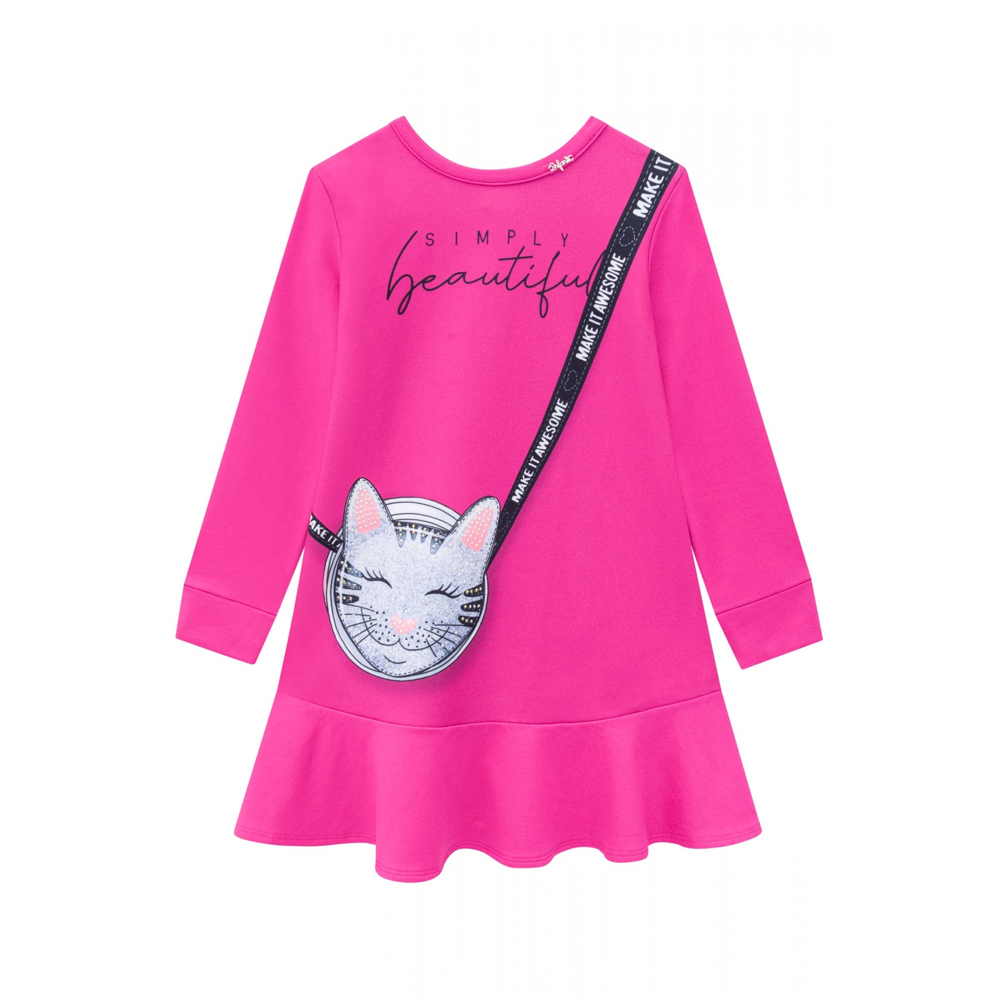 Vestido manga longa rosa pink - Tam 04 a 10 anos